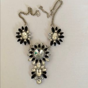 Black and silver statement chunky dazzle necklace